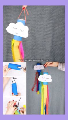 Catch the spring winds with this adorable little rainbow windsock toilet paper r. - kids' crafts - Catch the spring winds with this adorable little rainbow windsock toilet paper roll craft. Toilet Paper Roll Crafts, Easy Paper Crafts, Paper Crafting, Fun Crafts, Wood Crafts, Craft With Paper, Decor Crafts, Toilet Paper Rolls, Crafting Guild