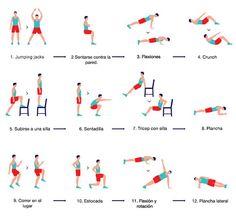 30 seg cada ejercicio con intervalos de descanso de 10 seg entre cada uno