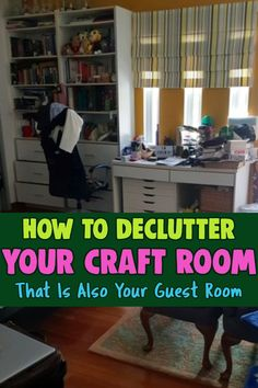 Craft Room Guest Room Combo - Craft room in guest bedroom? These craft clutter organization ideas will help your organize craft supplies cheap and clean for company fast. Guest room craft room combo ideas to unclutter craft room on a budget. Clutter Organization, Home Organization Hacks, Bedroom Organization, Organizing Ideas, Cheap Craft Supplies, Arts And Crafts Supplies, Hobby Room, Easy Diy Crafts, Craft Storage