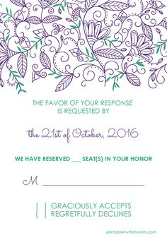 Free pdf download wedding invitation and rsvp watercolor flowers free pdf templates modern nature border rsvp template with free matching invitation stopboris Image collections
