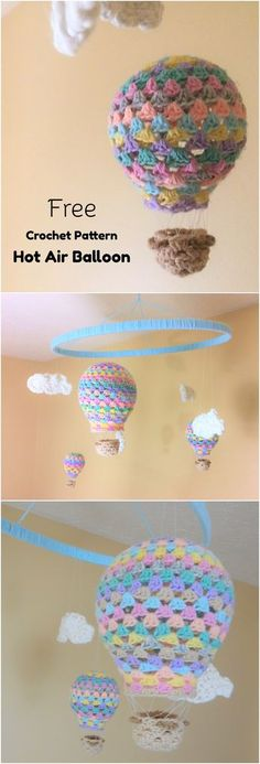 Crochet Patterns Top what a sweet idea for a baby& room! this crochet hot air balloon would add . Crochet Baby Mobiles, Crochet Mobile, Crochet Baby Toys, Crochet Gifts, Crochet Things, Baby Knitting, Amigurumi Patterns, Knitting Patterns, Crochet Patterns