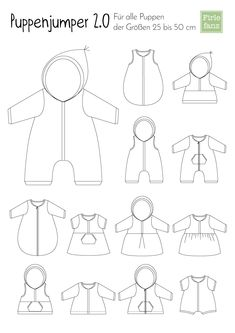 Freebook Dolljumper a free sewing pattern for doll clothes. So you can sew a doll jumpsuit, a doll dress, a doll sleeping bag, a doll jacket and much more! Geeginet for all dolls between 25 and 5 Sewing For Kids, Baby Sewing, Sewing Patterns Free, Free Sewing, Pattern Sewing, Vêtements Goth Pastel, Baby Born Kleidung, Baby Born Clothes, Maila