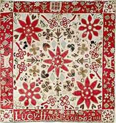 An English quilt dated 1852 signed Lucy Hasell (?)Horses and hearts are a recurring theme.