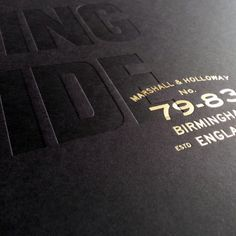 Combination of Gmund Action Go To Hell Black with Kurz gold foil. Blind deboss , Boom Creative. G.F Smith Papers