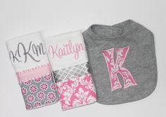 This Pink and Gray set includes a Personalized Heather Gray Bib with Pink Damask appliqued initial and 2 Personalized Burp Cloths. One Heather Gray Bib with Pink Damask machine applique initial. Bib is 100% cotton with a Velcro closure. Main portion of the bib measures approx 8x8.  Two PREMIUM 6 PLY Burp Cloths are embroidered and decorated with strips of coordinating fabrics and ribbons in pink and gray. In a combination of damask and flowers. ♥♥PLEASE LEAVE FOLLOWING INFORMATION IN…