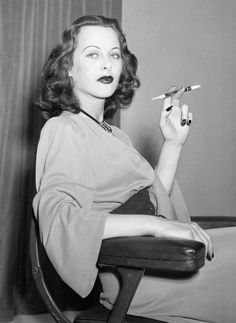 Hedy Lamarr, love her dark nails and makeup!