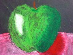 Ethan12294s art on Artsonia  Oil Pastel Still Life Apple 4th Grade Art Lesson