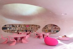 Restructuring and Safety Works of Saint-Jean's Schools / Dominique Coulon & associés, school, architecture, pink, reading room