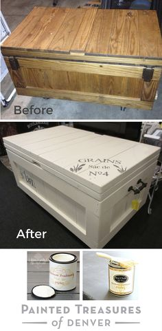 """I painted this wooden chest with Heirloom Tradition's A La Mode Chalk Type Paint and sealed it with the Best Chalk Top Coat. Get these colors  from http://heirloomtraditionspaint.mybigcommerce.com/ with coupon code """"PAINTEDTREASURES"""""""