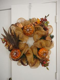 Feather and Pumpkin Fall Deco Mesh Wreath by AguinigaL11 on Etsy, $60.00