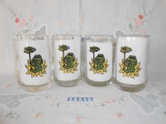 "1978 ""Frog Family"" Tumblers by Sears by WeBGlass on Etsy"