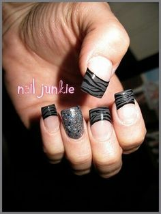 Great tips with black zebra on top one nail sparkle