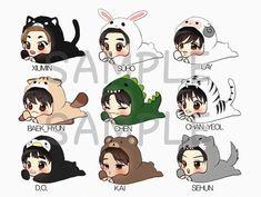☆my exo fanart☆ Exo Xiumin, Kpop Exo, Kpop Drawings, Cartoon Drawings, Animal Drawings, Cute Drawings, Drawing Animals, Chibi Exo, K Pop