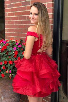 Red Homecoming Dress, Off the Shoulder Homecoming Dress Short Homecoming Pictures, Homecoming Week, Red Homecoming Dresses, Hoco Dresses, Wedding Dresses, Red Shorts, Occasion Dresses, Elegant Dresses, Off The Shoulder