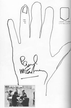 Each Beatle had their hand traced and autographed it for Music Life magazine, 1965