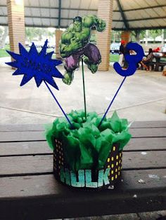 The Incredible Hulk centerpiece Incredible Hulk Party, Hulk Birthday Parties, 3rd Birthday, Birthday Party Centerpieces, Avengers Birthday, Superhero Party, Party Entertainment, Holidays With Kids, First Birthdays