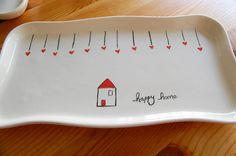 Handmade ceramic happy home tray