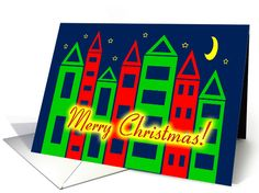 Merry Christmas Moving Announcement Cityscape Starry Night card