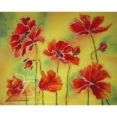 Batik Art Print: Poppy Fields