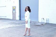 Monochromatic in all white // ASOS side cutout twist bodycon dress
