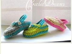 Crochet Baby Booties  Slippers  Pattern by CrochetDreamz on Craftsy.  Do these remind you of Crocs?  Pattern is available.  Love these!!