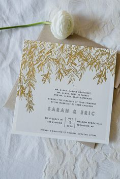 Grey and gold leaf wedding invitation suite with kraft paper envelope and vintage stamps. Vintage inspired blush and maroon Meadow Brook Hall estate wedding in Rochester, Michigan by Kari Dawson Photography Grey Wedding Invitations, Wedding Invitation Inspiration, Wedding Invitation Samples, Save The Date Invitations, Wedding Programs, Wedding Stationery, Maroon Wedding, Fall Wedding, Wedding Ideas