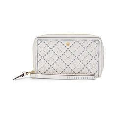 Tory Burch Robinson Crosshatch Smartphone Wristlet ($158) ❤ liked on Polyvore featuring accessories, tech accessories, tory burch, zip wristlet, leather smartphone wristlet, wristlet smartphone and tory burch wristlet