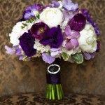 purple and white wedding flowers
