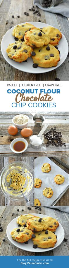 Coconut Flour Chocolate Chip Cookies  #justeatrealfood #paleohacks