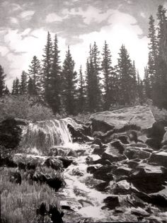 Columbine Creek Pencil Drawing, Beautiful Landscape Drawings for Inspiration, http://hative.com/landscape-drawings/,