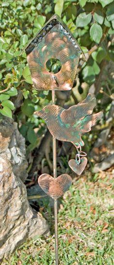 Decorative Bird House Garden Stake / Metal Yard Art / Garden Art / Copper / Outdoor Garden / Bird Ornament / Garden Gift / Patina / Statue by GardenCopperArt on Etsy