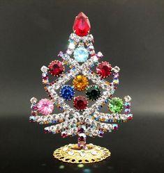 "Unique Czech Rhinestone Decoration Christmas Tree #644 - 4"" height"