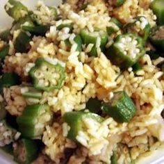 Fluffy steamed rice with tender okra, crumbled bacon, and sauteed onion.