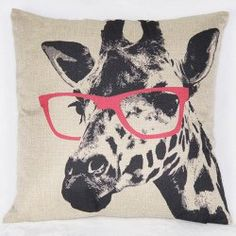 Cute Giraffe Pattern Printed Square Synthesis of Linen Pillow Case (AS THE PICTURE) | Sammydress.com Mobile