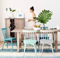 Beach Blue Weathered Wood Dining Room from Target.... http://www.beachblissdesigns.com/2016/09/beachy-blue-weathered-wood-dining-room-Target.html Furnishings remind of driftwood and windsor chairs in different shades of beachy blue make the space dynamic and fun.