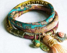 Red wine brocade wrap bracelet by ellivira on Etsy