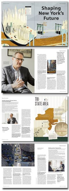 "Michael Gollong – Siemens urbanDNA No. 4. ""Shaping New York's Future"". Für independent Medien-Design. Illustrationen: Kelli Anderson, Fotos: Johannes Kroemer"