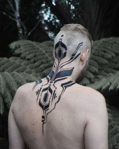 nape tattoo blackwork pattern