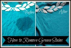 How to Remove Grease Stains. Grease stains ruin so many clothes :(