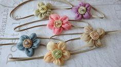 set 6 headbands baby headbands newborn by Baptism Headband, Newborn Headbands, Flower Headbands, Photography Supplies, Vintage Headbands, Chiffon Flowers, Felt Flowers, Girly Things, Hair Bows
