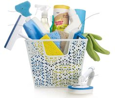Bathroom Toolkit: A cute caddy tucked in a linen closet may inspire you to give your bathroom that extra sparkle a little more often. Fill with heavy-duty tools and supplies. For more helpful tips on cleaning the bathroom, check out www.scotch-brite.com. #cleaning