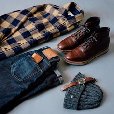 Flannel and denim for the rain. Shirt: Jcrew Wallace Barnes flannel Pants: Boots: Alden x Moulded Shoe plain toe boot Watch: Laco pilot watch Hat: cap Wallet: Tanner Goods. Casual Outfits, Men Casual, Fashion Outfits, Fashion Tips, Fashion Trends, Casual Menswear, Style Masculin, La Mode Masculine, Outfit Grid