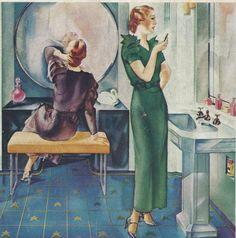 Vintage Powder Room, c. Vintage Theme, Vintage Love, Vintage Images, Vintage Decor, Vintage Stuff, Vintage Bathrooms, 1930s Bathroom, Vintage Advertisements, Vintage Ads