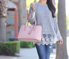 Casual weekend outfit: Grey lace hem sweater, distressed denim and pink tote - Stylish Petite