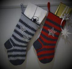 Hæklet julesok med mønster, gratis hækleopskrift på julesok. Hæklet julepynt, og tip og ideer. Hæklet julesok til decembers små gaver. Chrochet, Knit Crochet, Christmas Stockings, Christmas Crafts, Tiny Gifts, Christmas Knitting, Crochet Christmas, Easter Season, Projects To Try