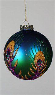 Regal Peacock Blue & Green Glitter Applique Glass Christmas Ball Ornament