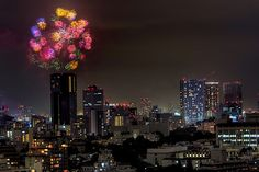 Tokyo Bay Fireworks Festival as seen from Ebisu Garden Place Tower.