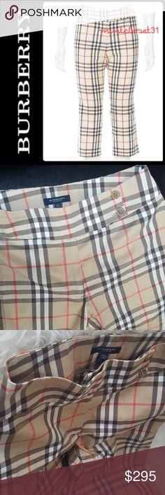 Burberry London Plaid Capris Burberry London Designer Pants in Gorgeous Nova Check Plaid Pattern! Features Beige Tan Grey in Capris Pants Style! So Classic yet Brings Out the Iconic Flair of Luxe Burberry Plaid!   Made in Italy with Blend of Cotton Nylon Elastaine Material! Approx Measurement when Flat - Waist 14 in,  Length about 29 in, Inseam about 20 in! Front Zip and Buttons Closure! Size US 6, Excellent Used Condition! Burberry Pants Capris