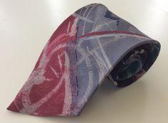 Hardy Amies Neck Tie Burgundy Green Blue Gray Geometric Design  #HardyAmies #NeckTie