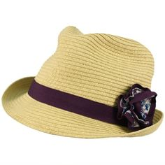 Girls Kids Ages 4-9 Child Summer Sun Floral Band Fedora Trilby Hat Cap Natural